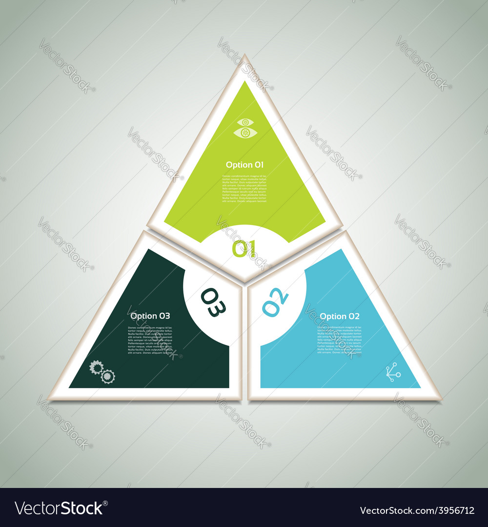 Cyclic diagram with three steps and icons eps 10 vector