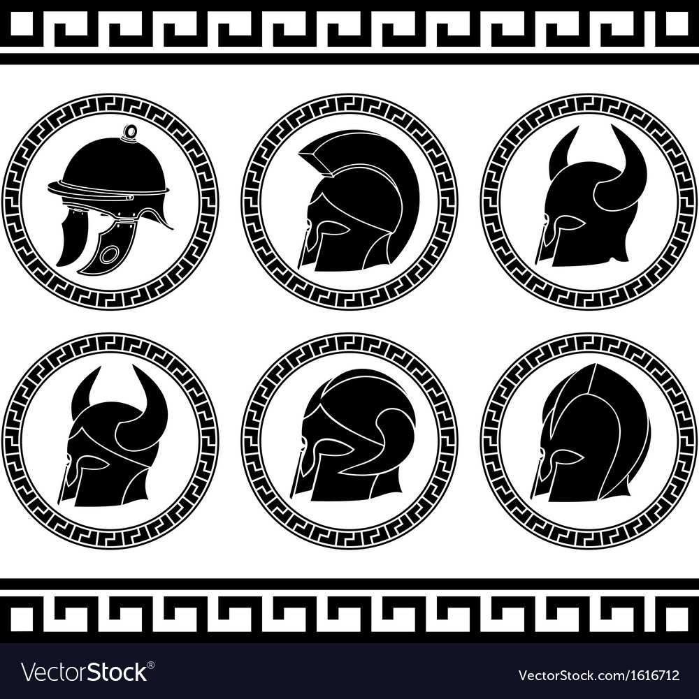 Set of ancient helmets vector