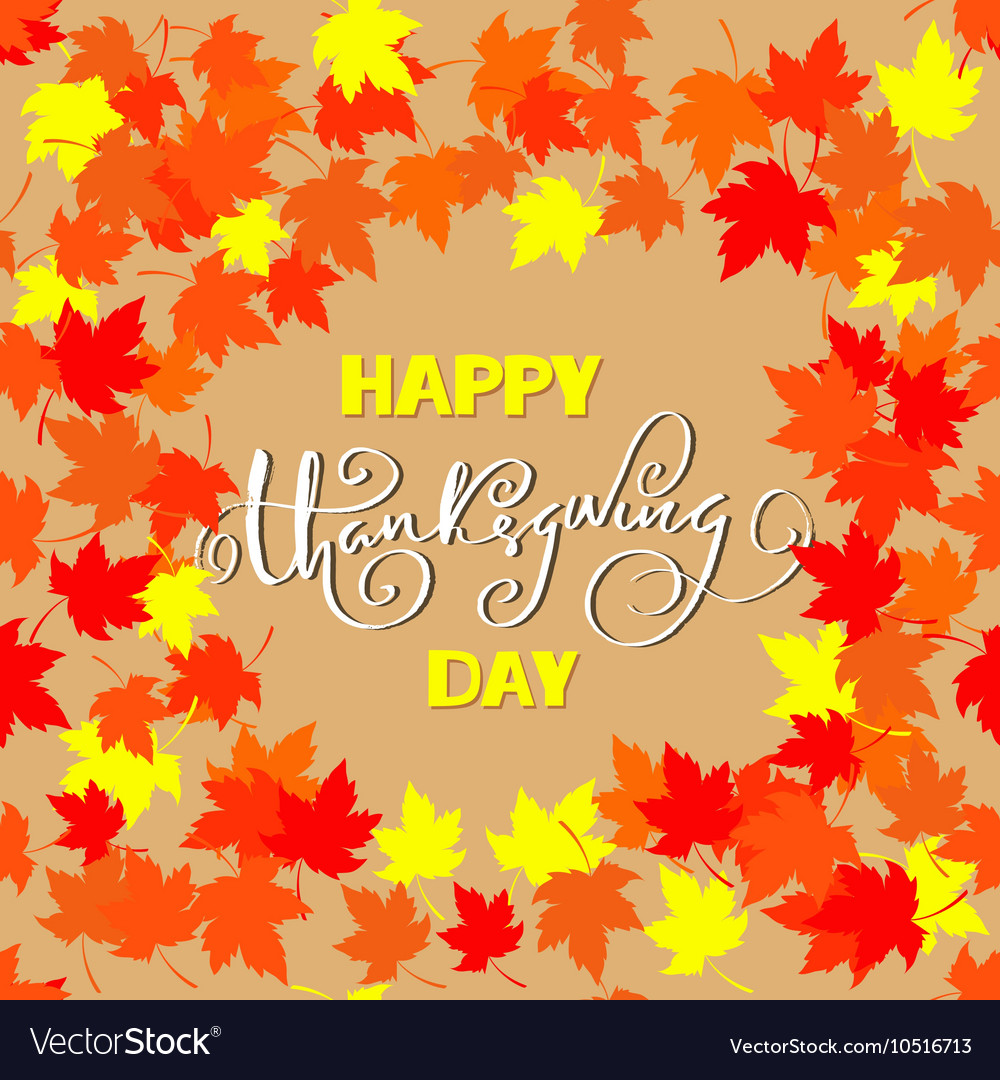 Happy thanksgiving lettering greeting text and vector