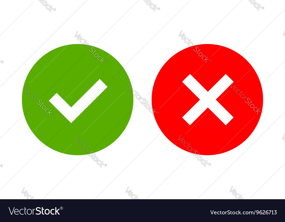 Tick and cross signs simple vector