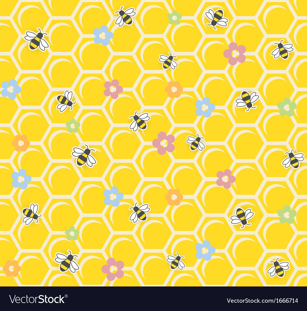 Bee on honeycomb seamless vector