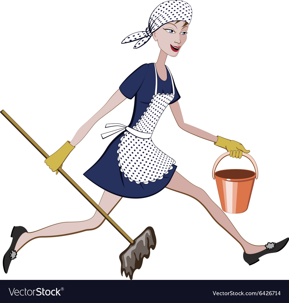 Charwoman running with a bucket and mop vector