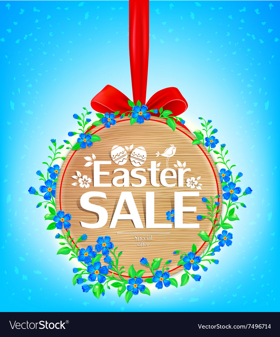 Easter sale wooden banner vector