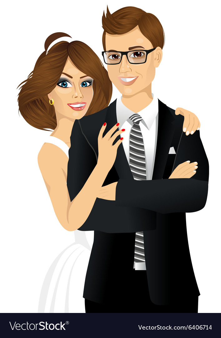 Portrait of beautiful bride and groom vector