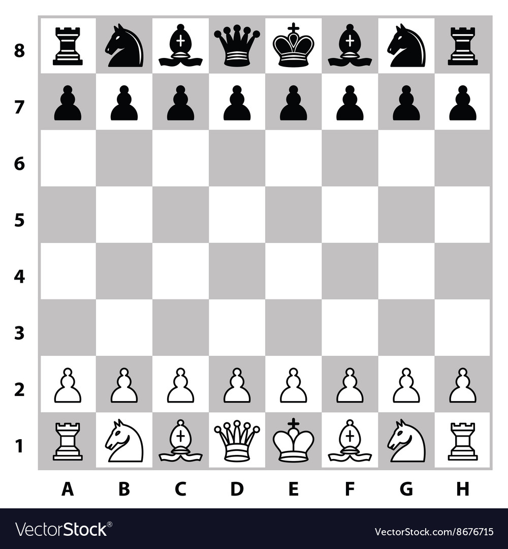 Chess pieces on a chess board vector