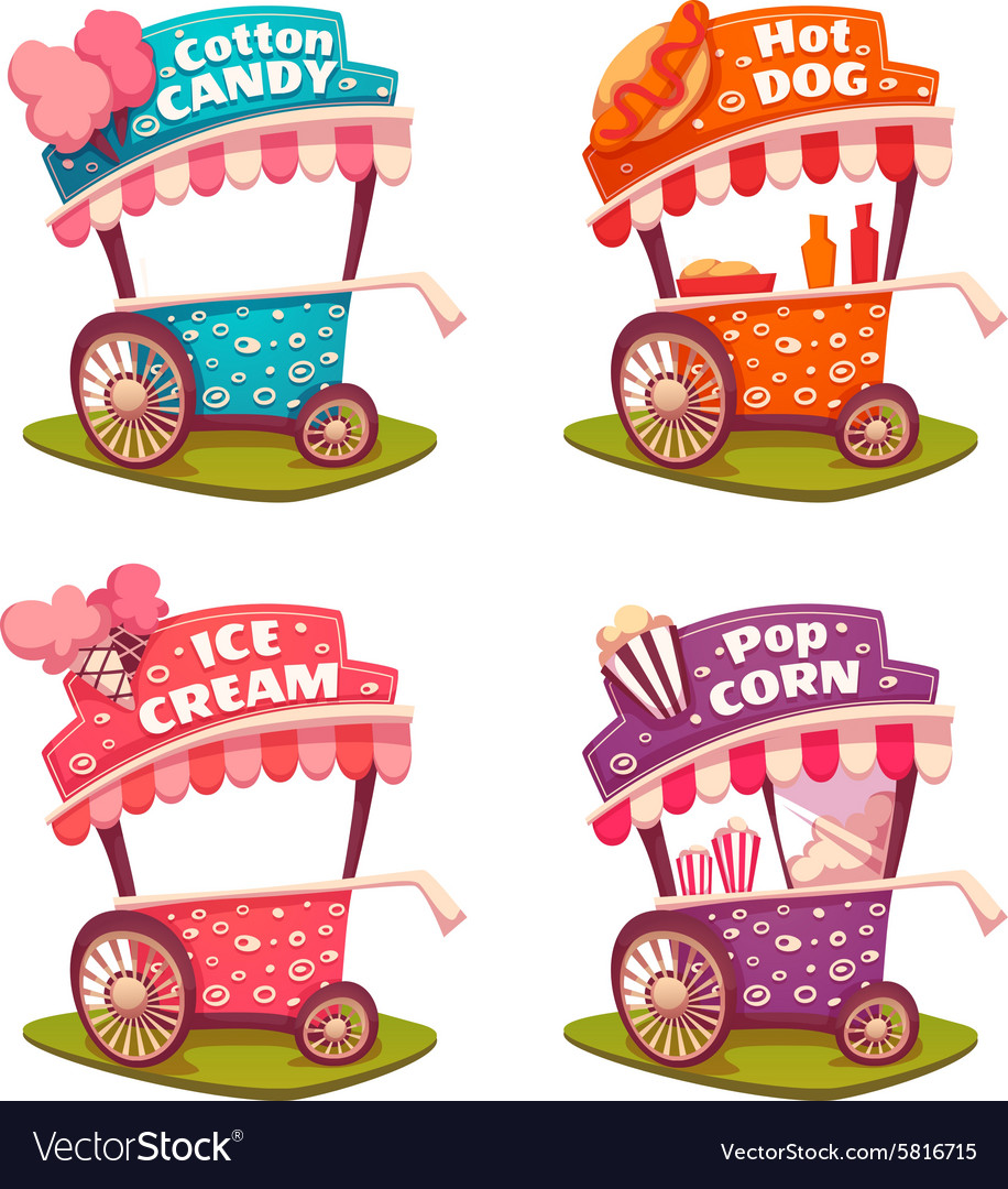 Set of fast food carts icecream cotton candy vector