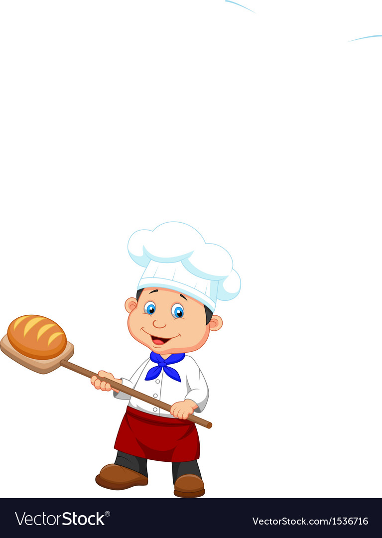 Cartoon a baker with bread vector
