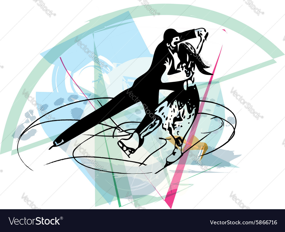 Couple ice skaters skating at colorful sports vector