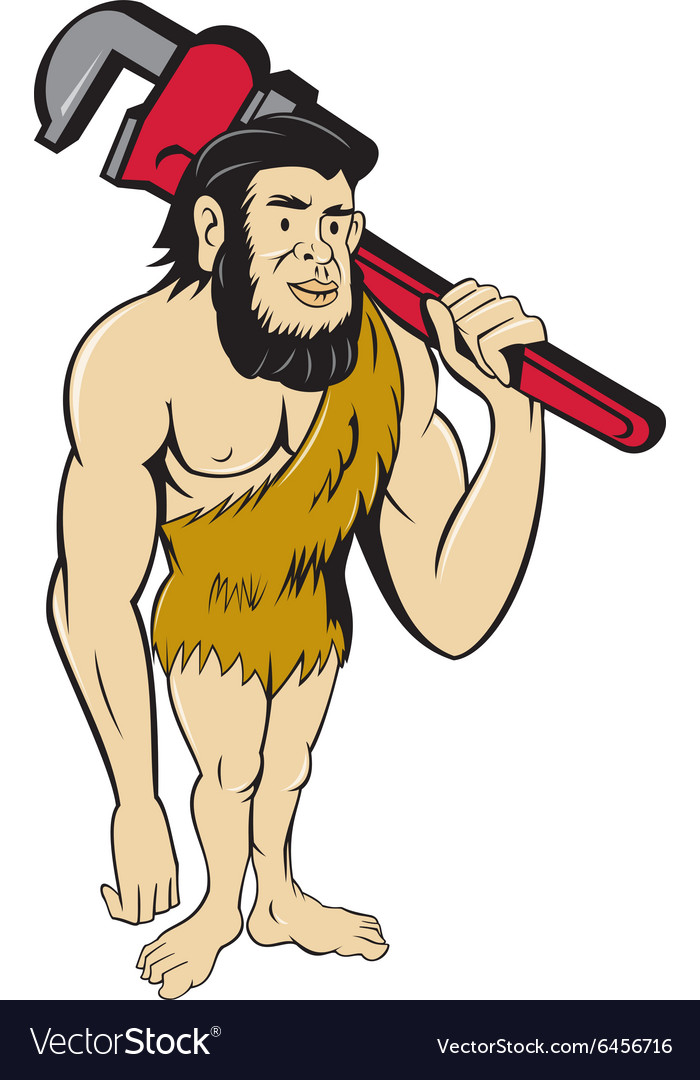 Neanderthal caveman plumber monkey wrench cartoon vector