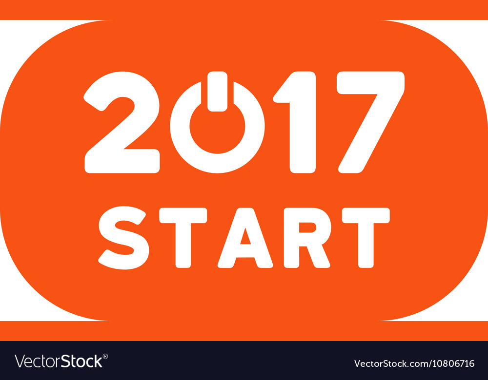 Start 2017 year rounded button flat icon vector