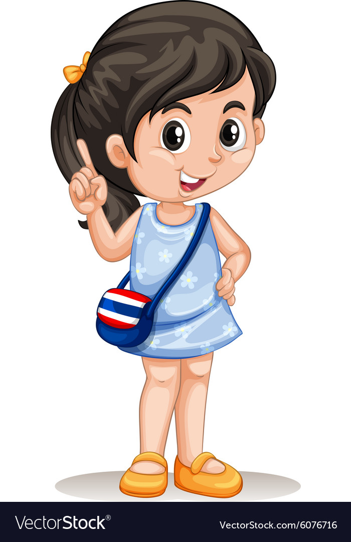 Thai girl with handbag vector