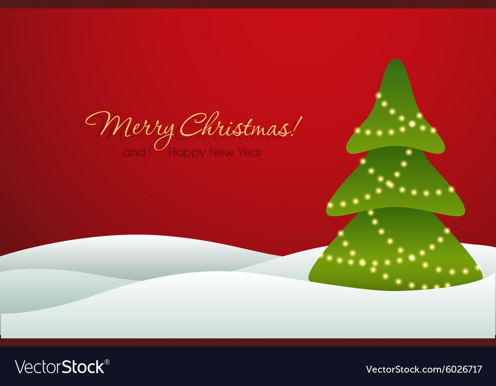 Christmas tree on red background card vector
