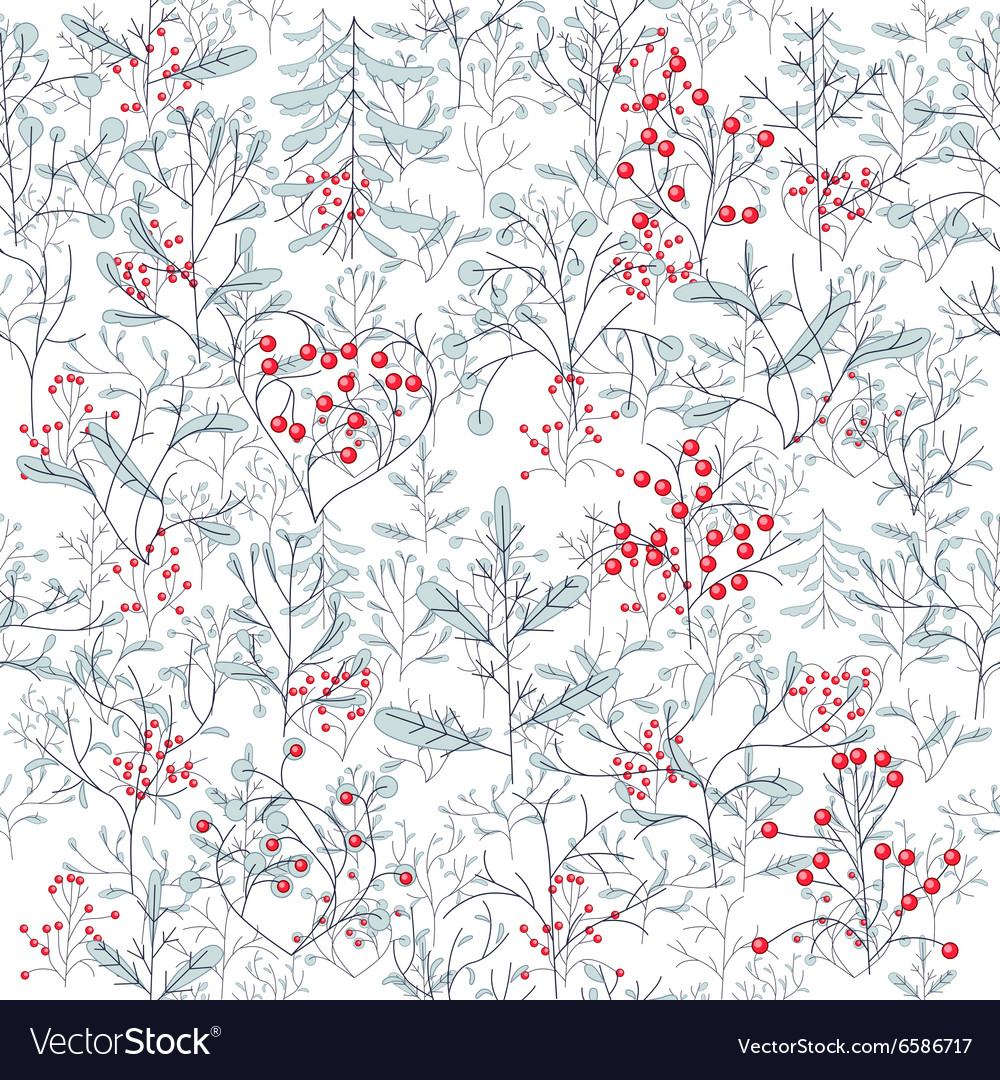 Endless pattern with contour winter trees vector