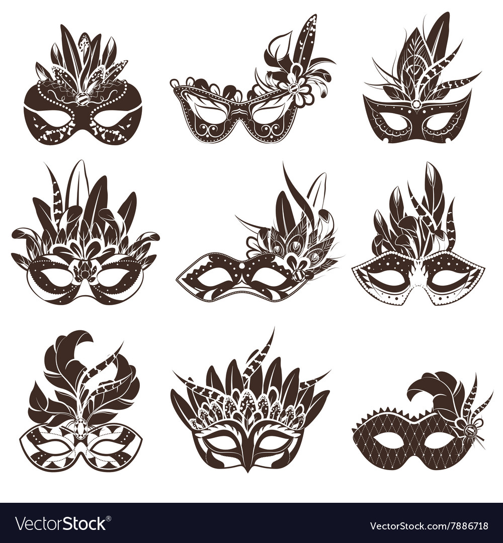 Mask black white icons set vector