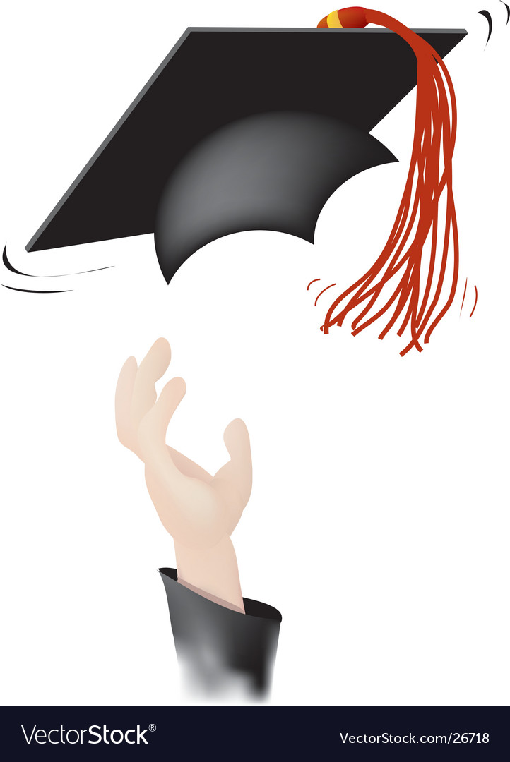Tossing the graduation cap vector