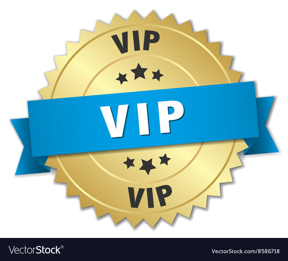 Vip 3d gold badge with blue ribbon vector