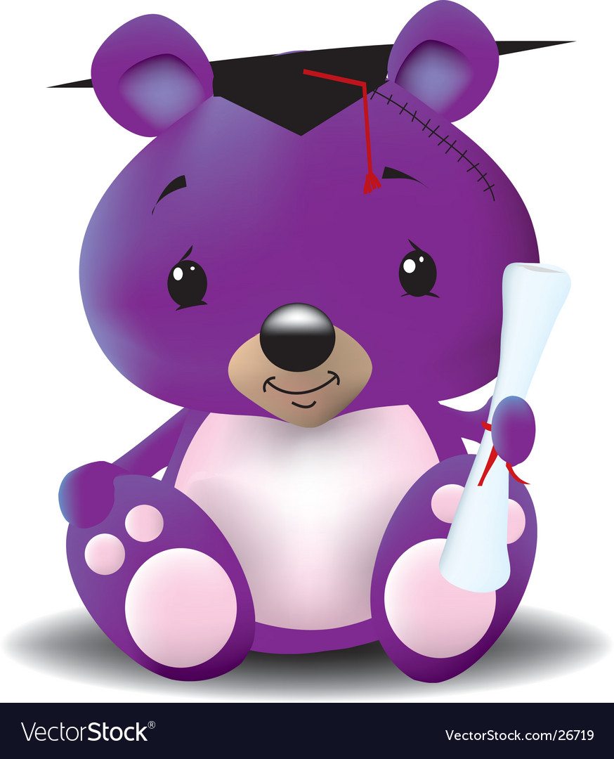 Graduation teddy bear vector