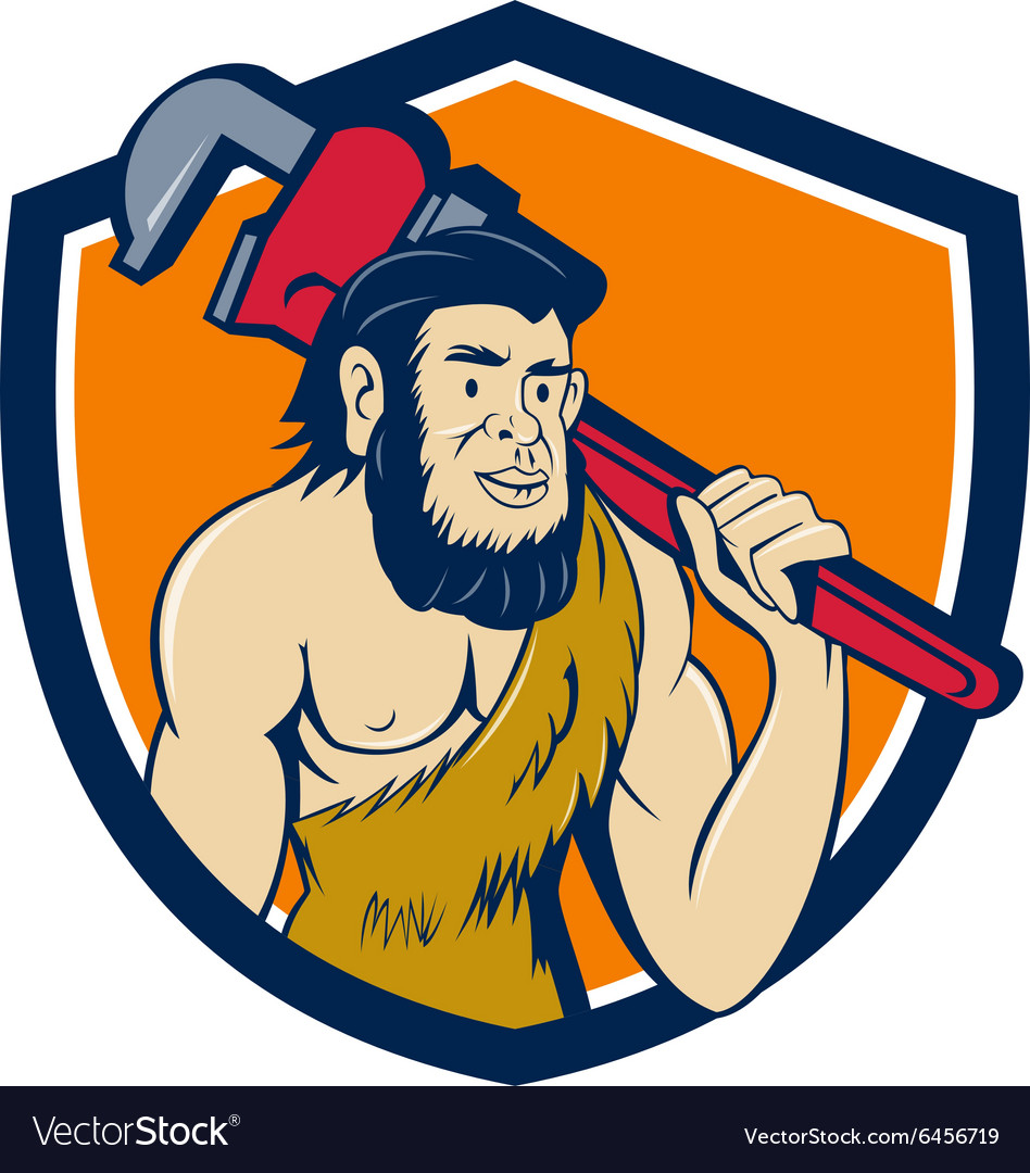 Neanderthal caveman plumber monkey wrench shield vector