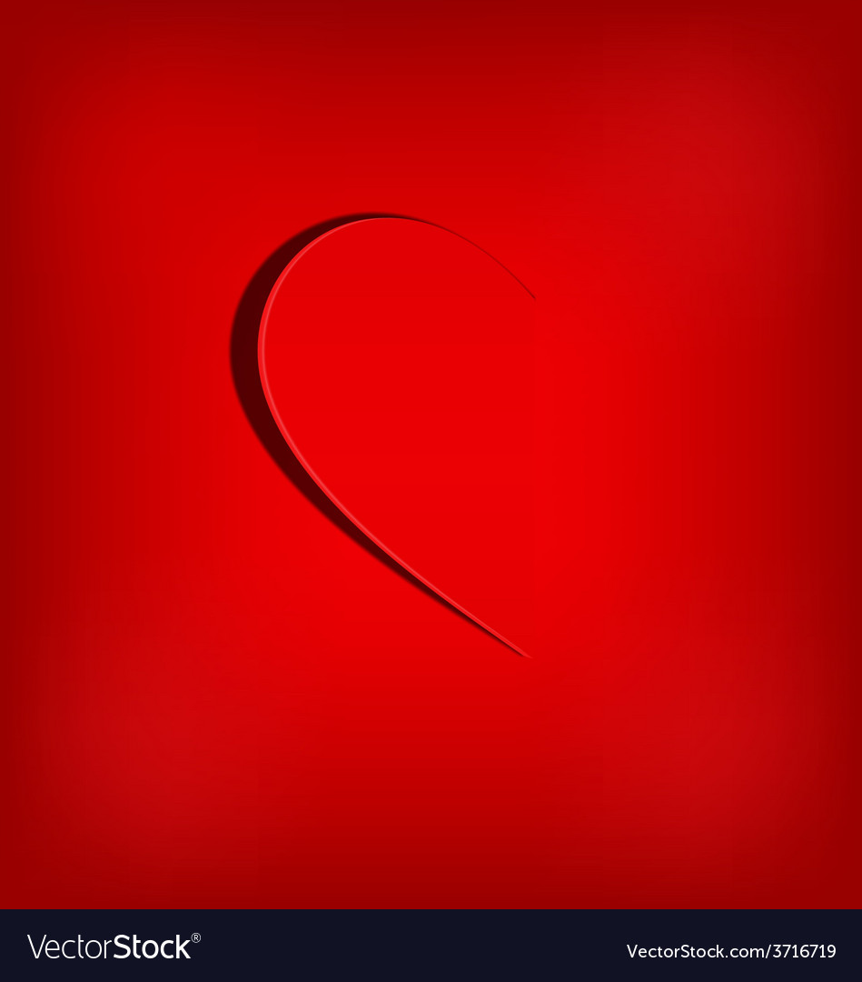 One half of the heart on red vector