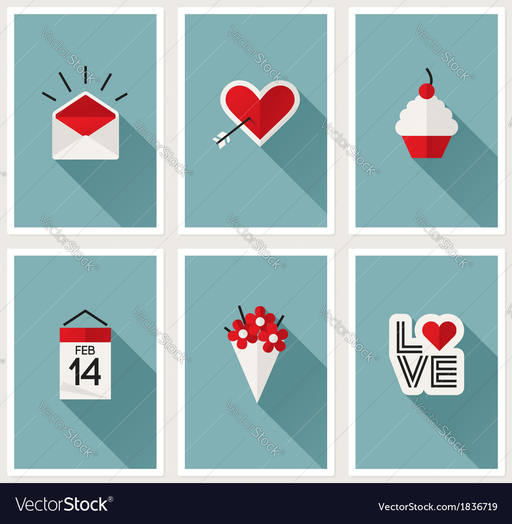 Set of romantic valentines day symbols vector