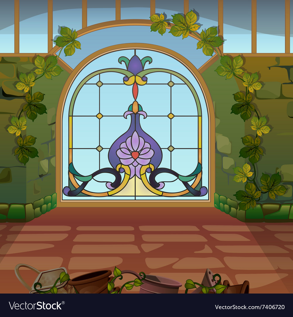 Fabulous mosaic gates into the magical land vector