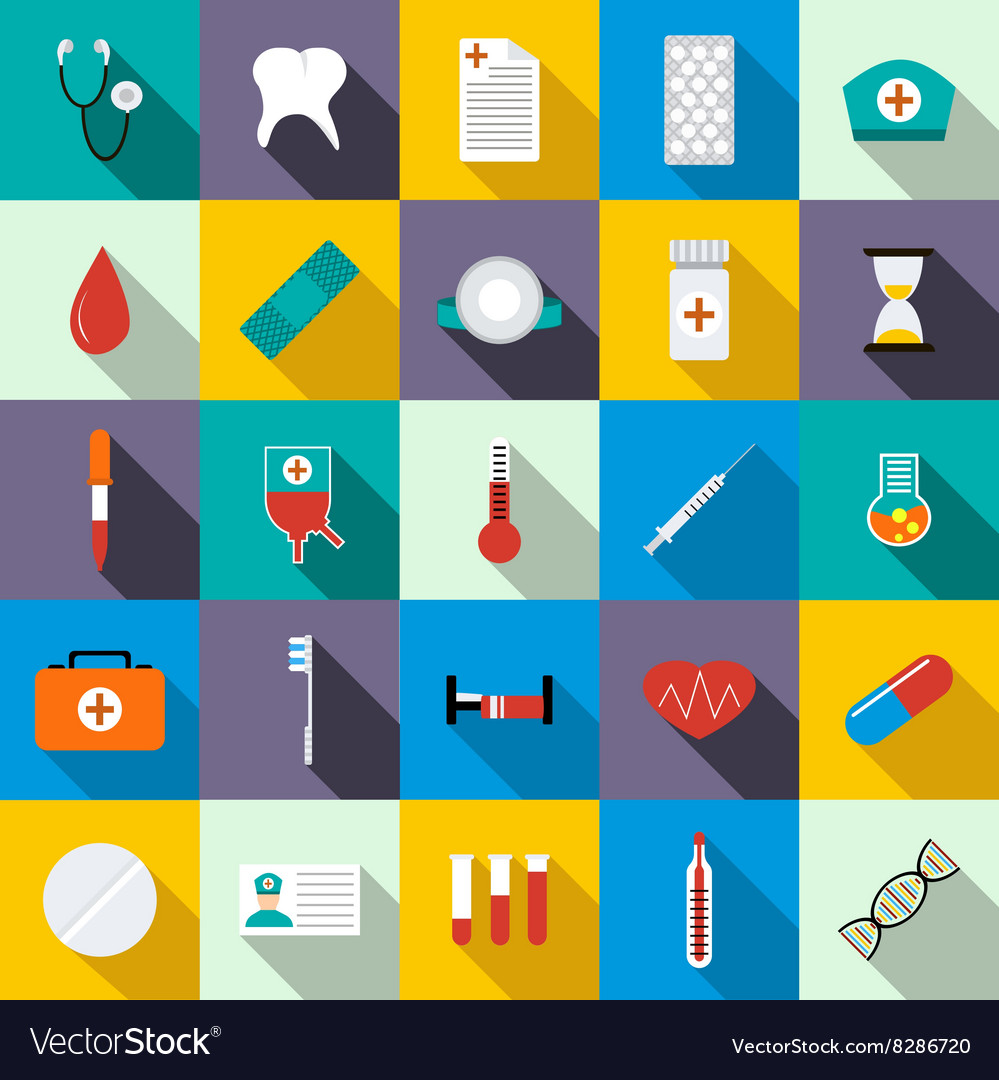 Medicine equipment icons set flat style vector