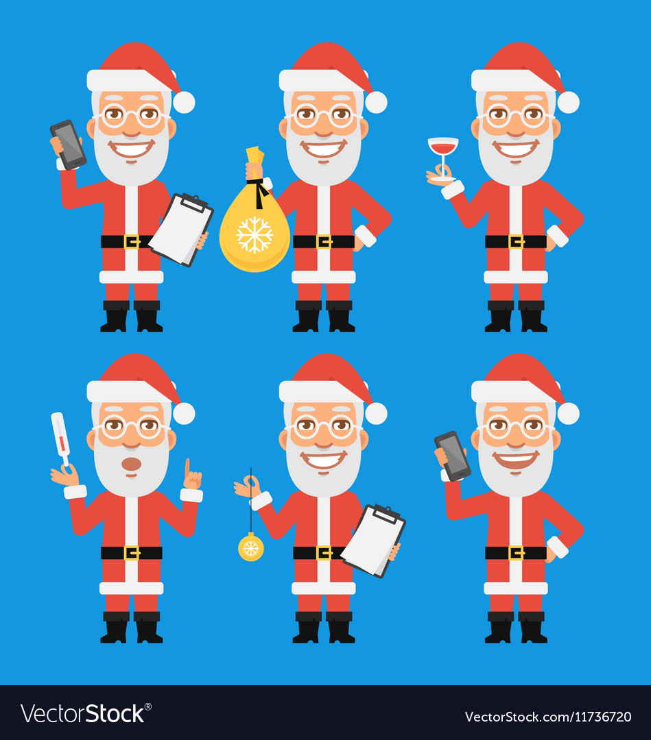 Santa claus holding thermometer bag phone vector