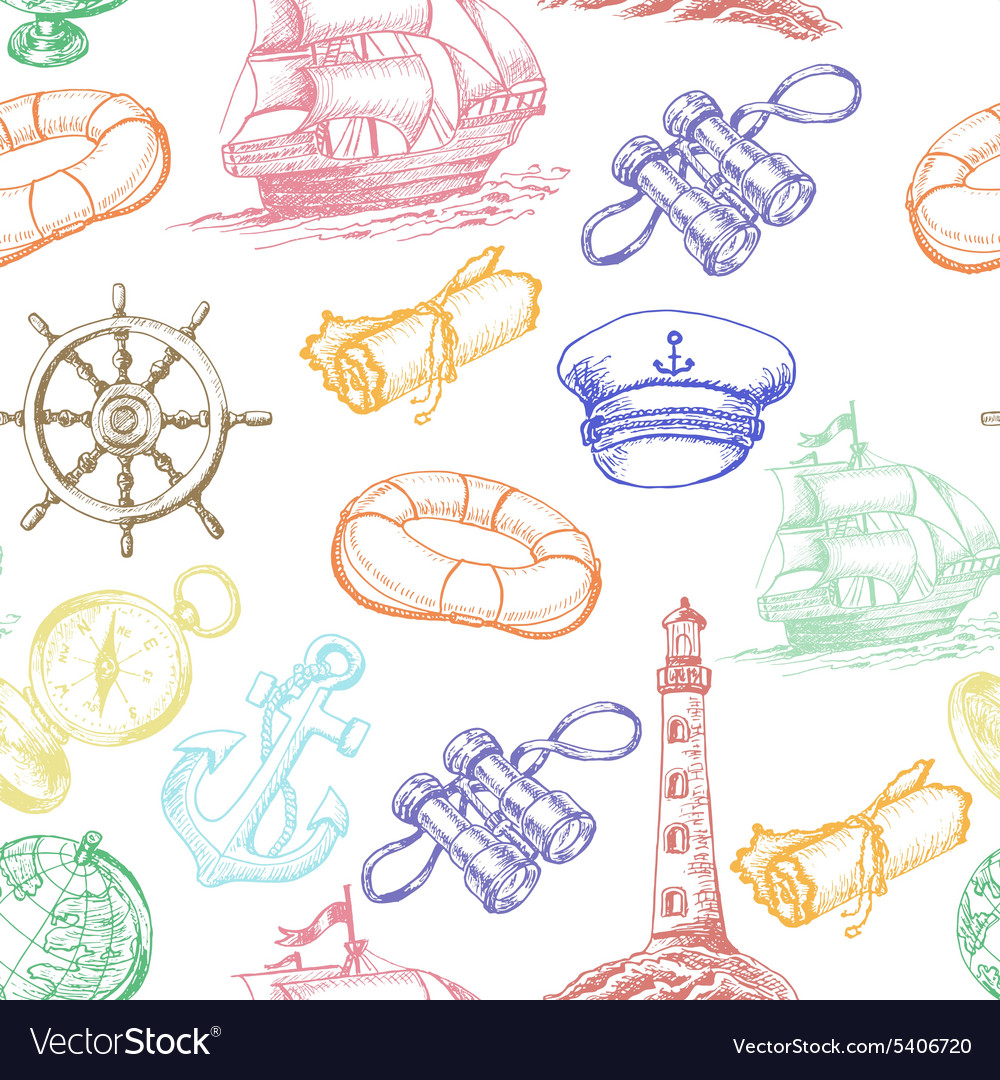 Seamless pattern with colored sea adventure vector
