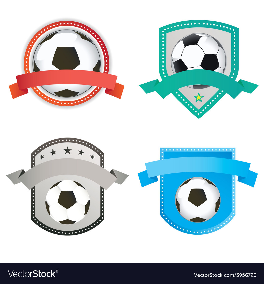 Set of soccer football and logo emblem designs vector