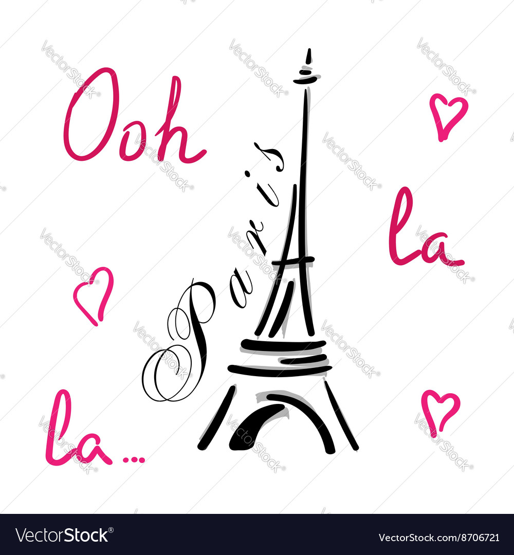 Eiffel tower with hearts hand drawn vector