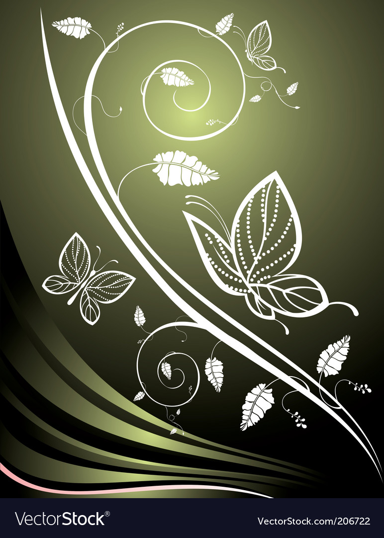 Floral background with butterflies vector
