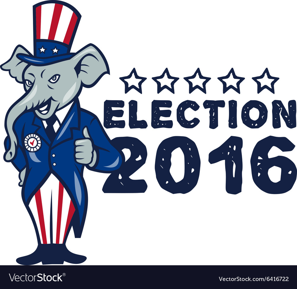 Us election 2016 republican mascot thumbs up vector