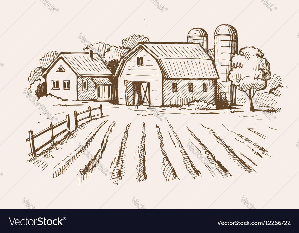 Village and landscape farm vector