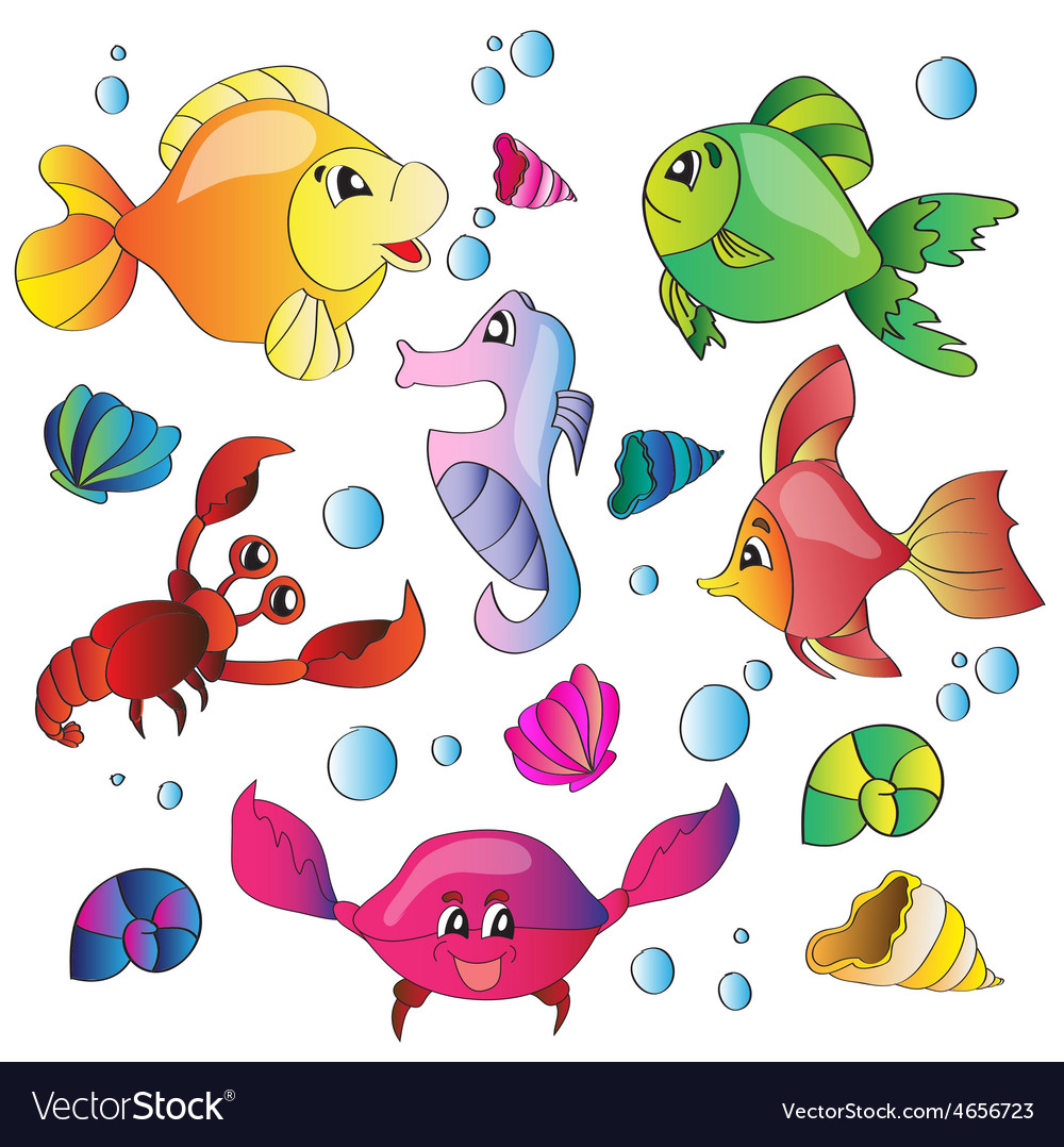 Set of images of the marine life vector