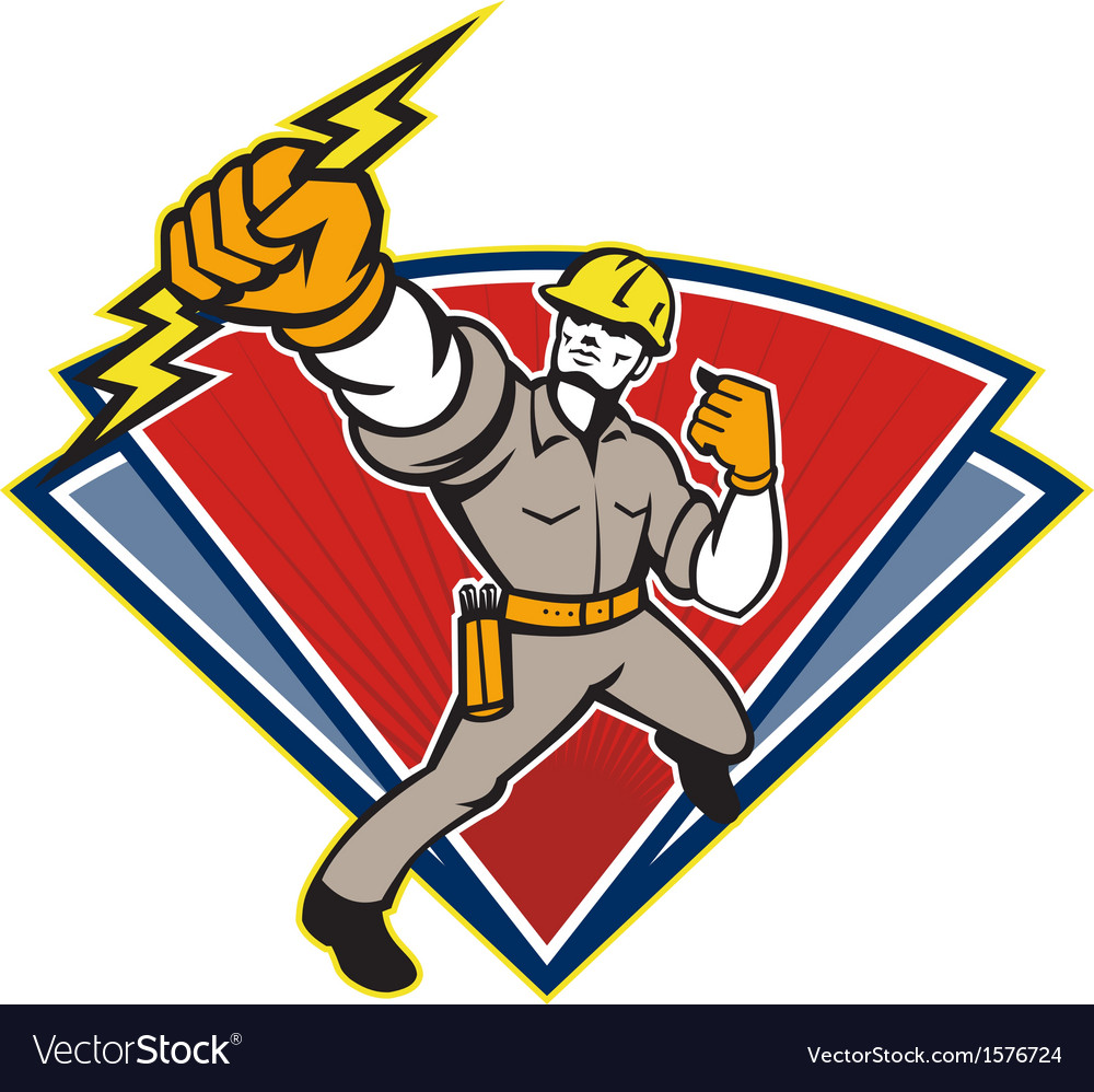 Electrician punching lightning bolt vector