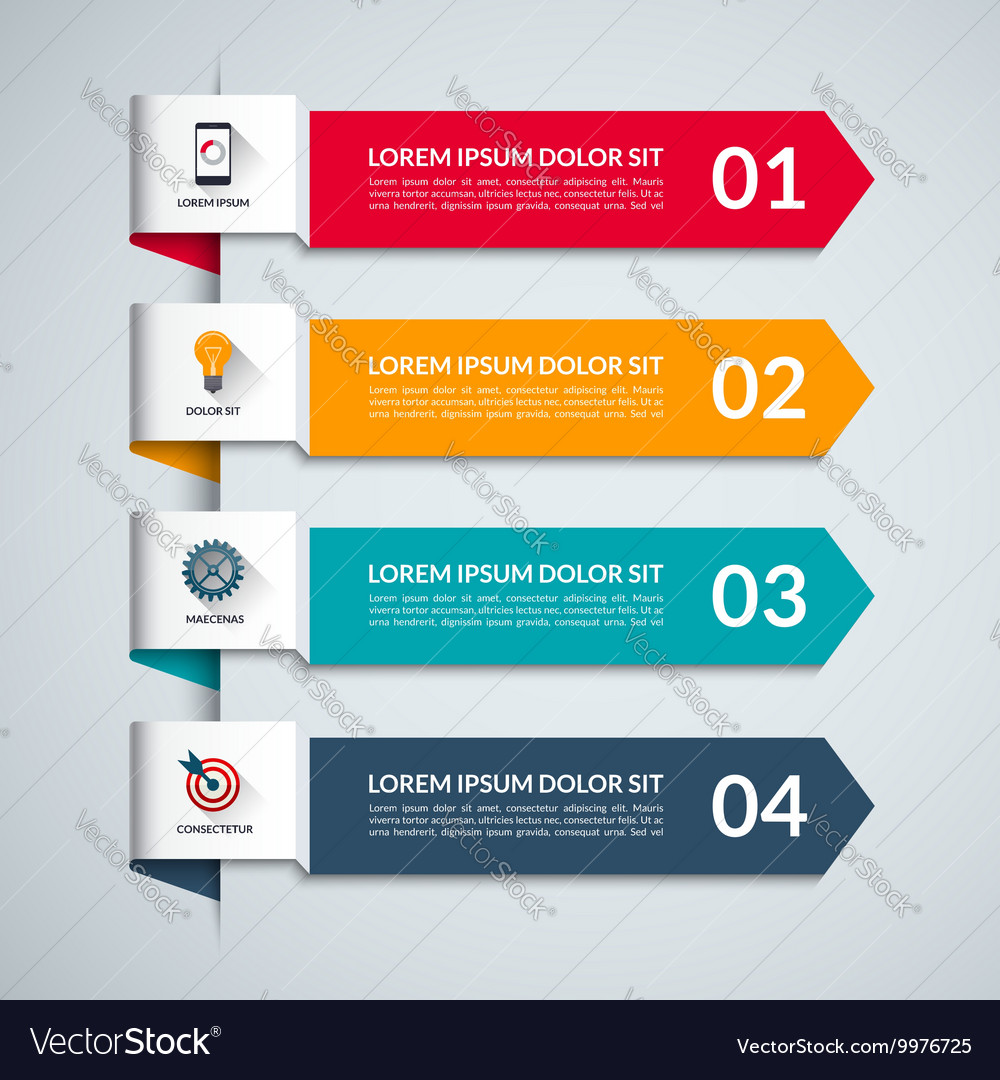 Infographic template with 4 arrows options steps vector