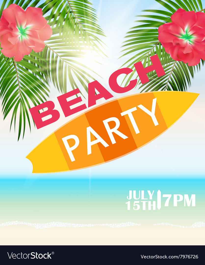 Beach summer party poster vector