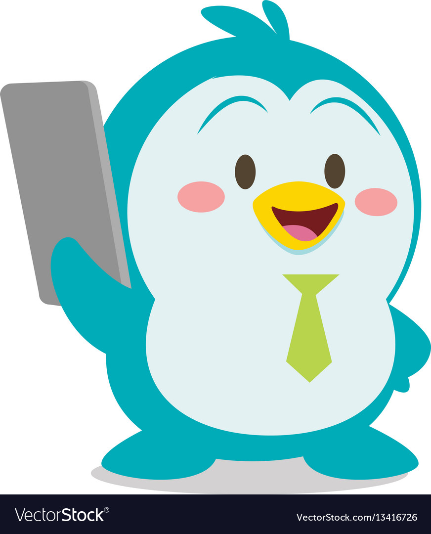Penguin with phone character vector