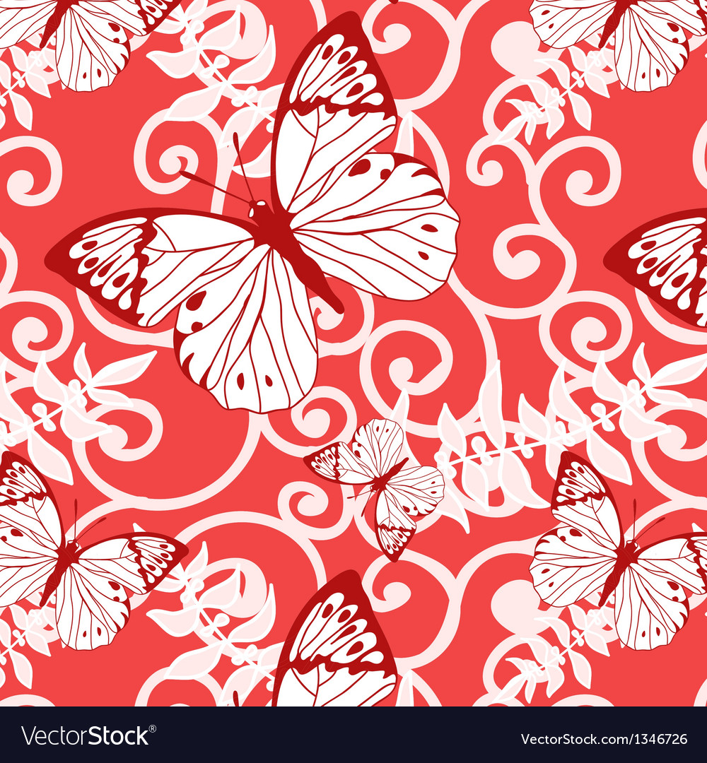 Seamless background with swirls and butterflies vector