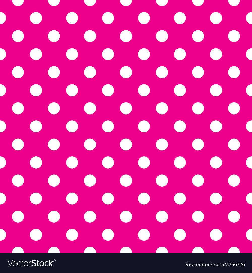 Tile pattern white polka dots pink background vector