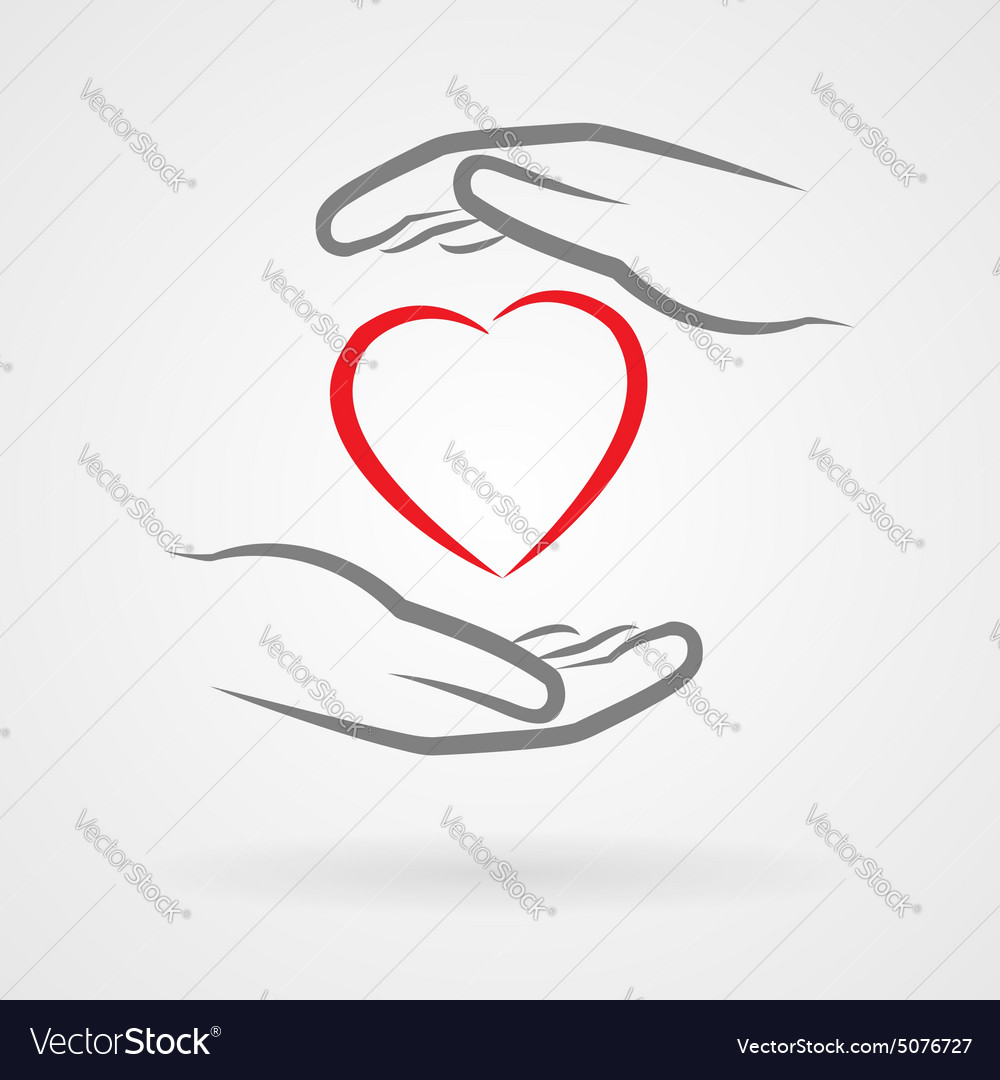 Hands and heart symbol vector