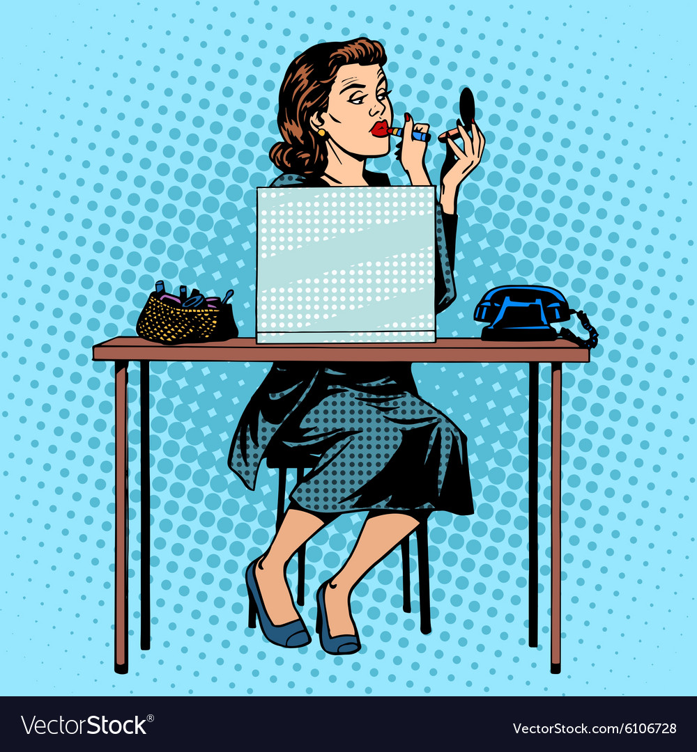 Businesswoman putting on lipstick in the office vector