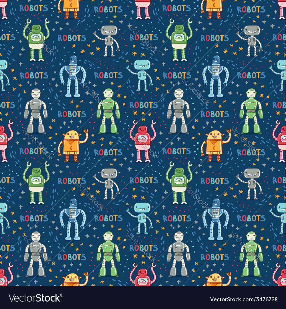 Cartoon robots blue seamless pattern vector