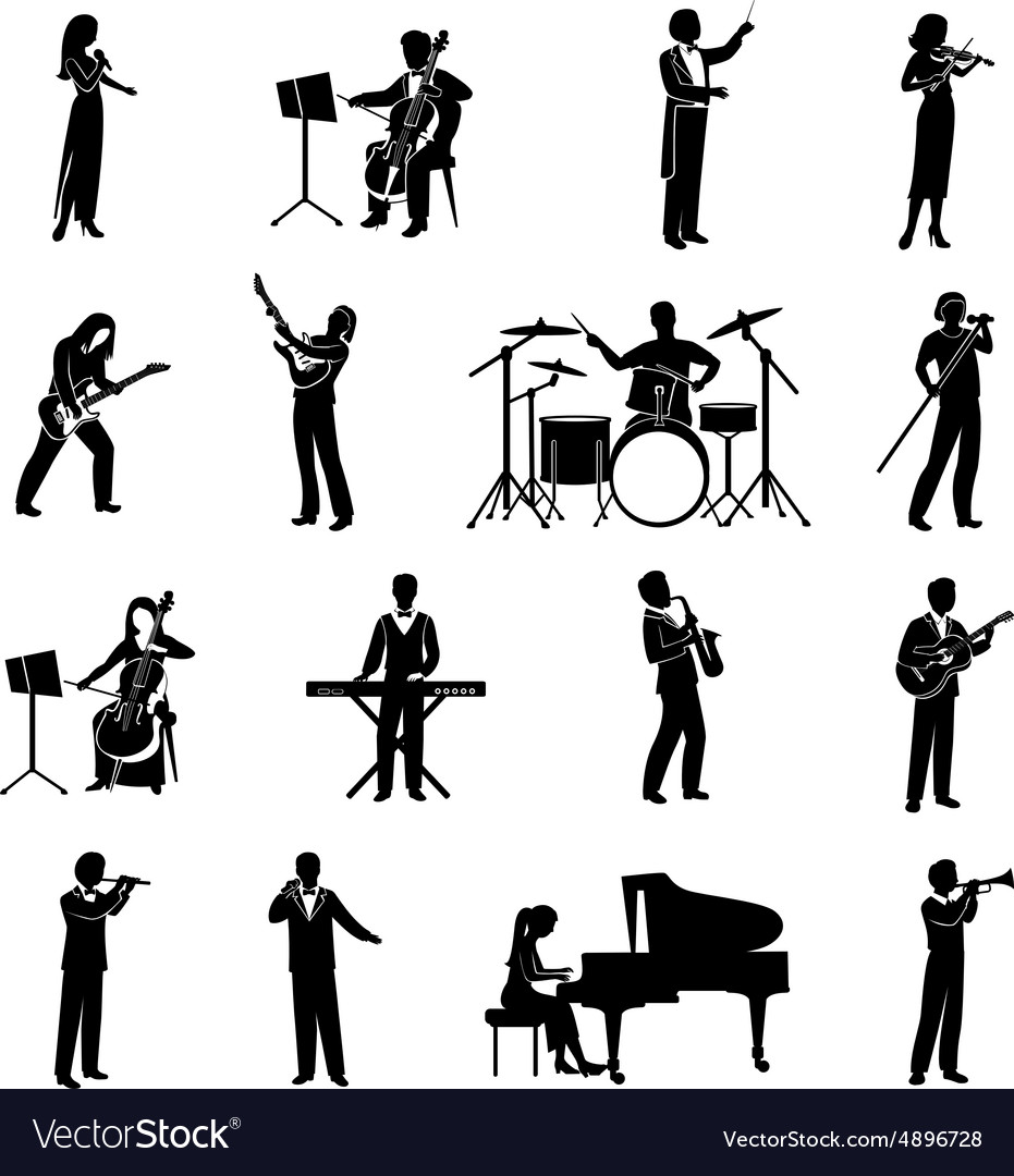 Musicians icons black vector