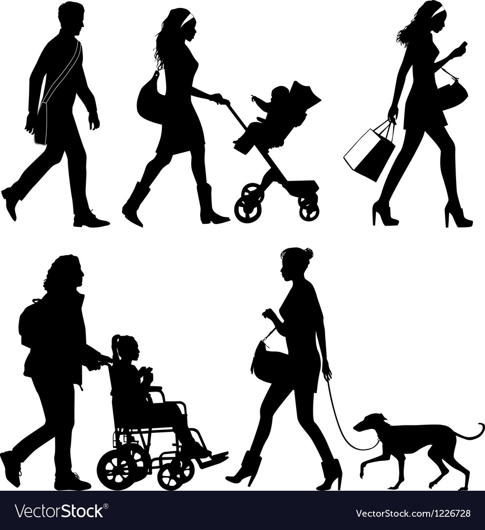 Several people and one dog  silhouettes vector