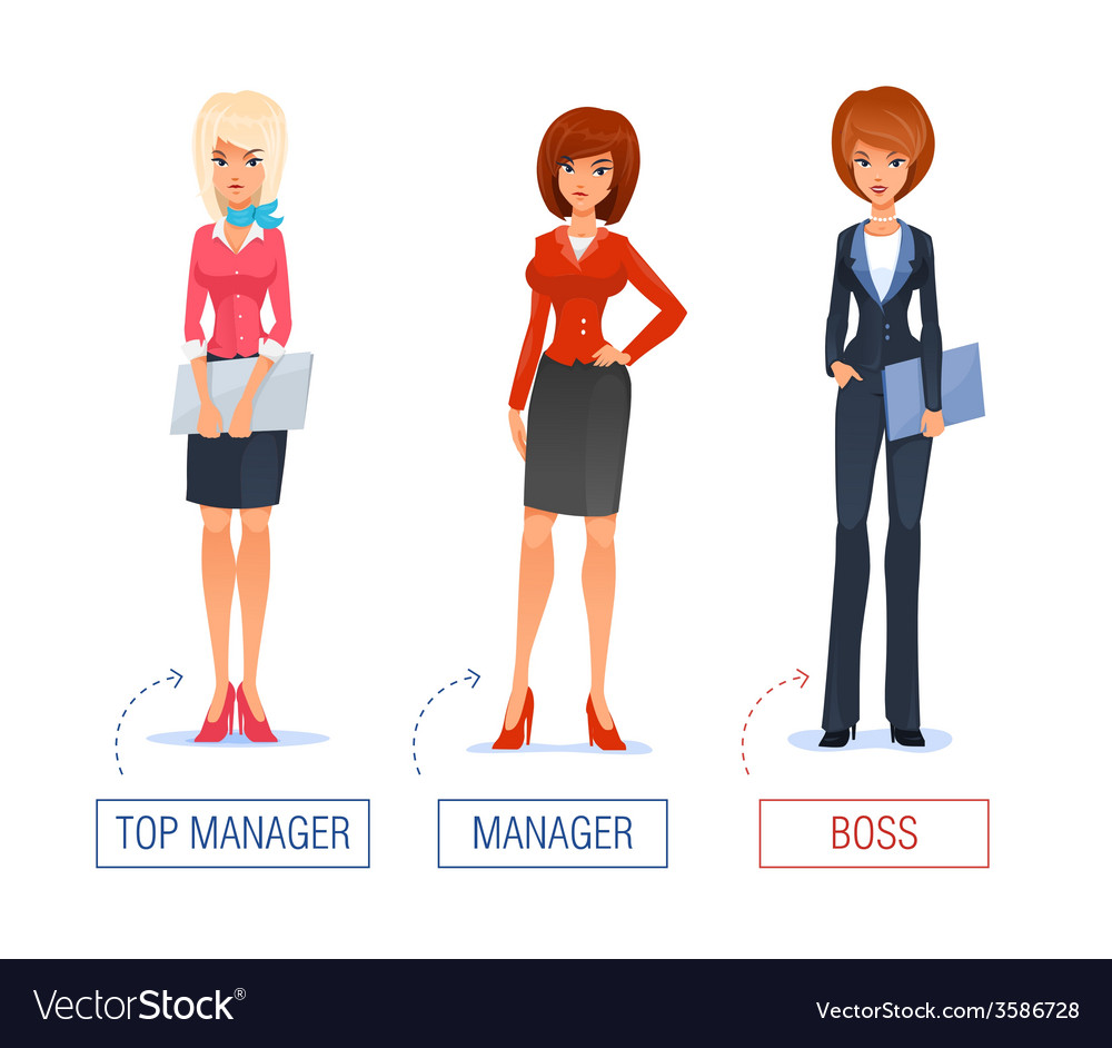 Smiling business woman of cartoon boss manager vector
