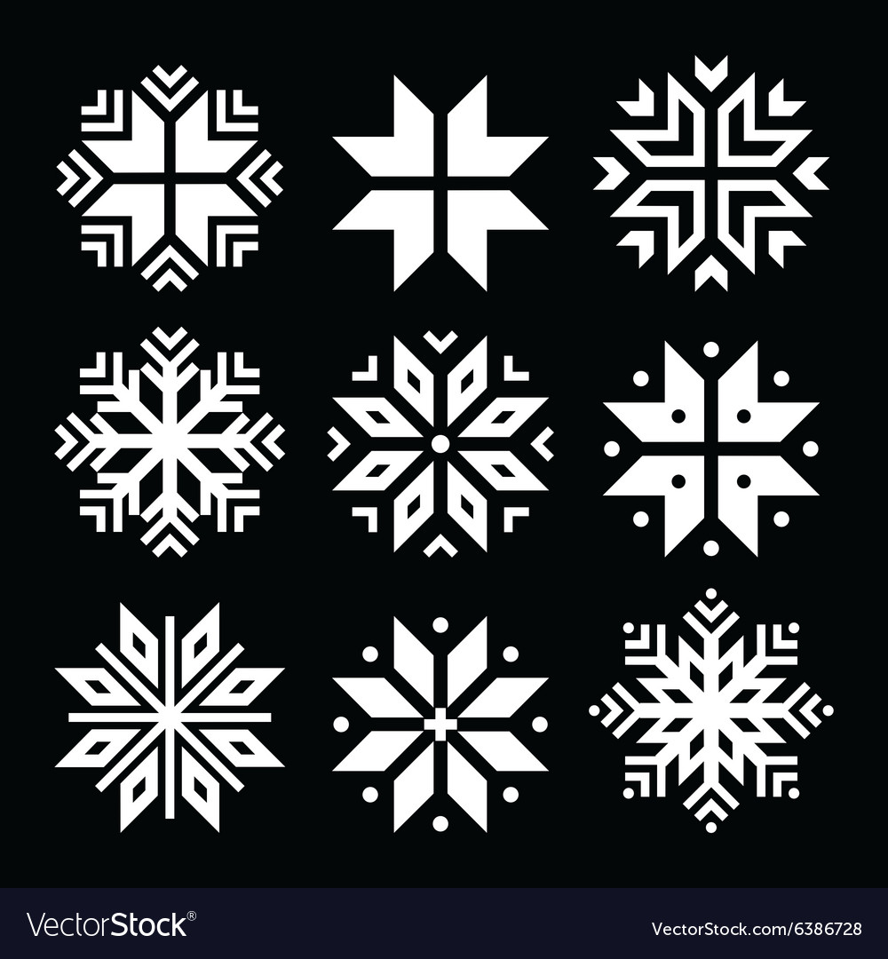 Snowflakes christmas white icons set vector