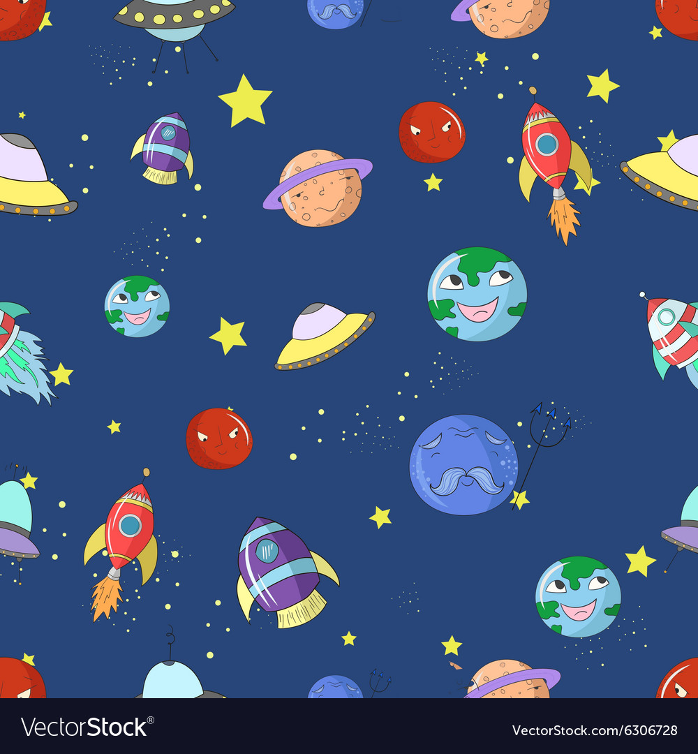 Space seamless pattern cartoon vector