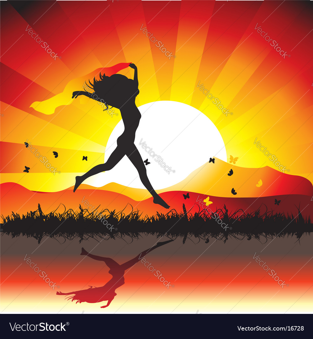 Woman sunset nature vector