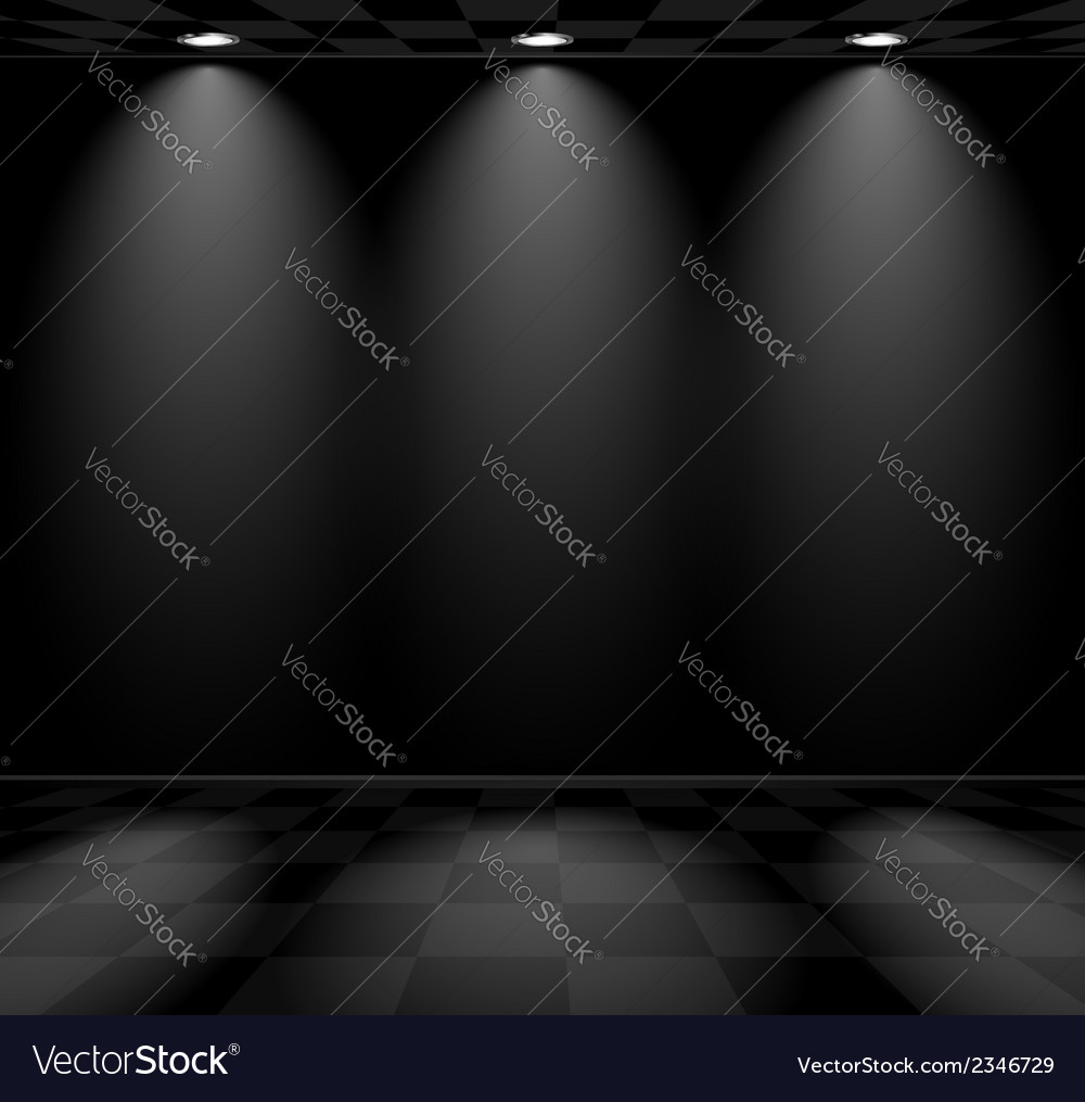 Black empty room with checkered floor vector